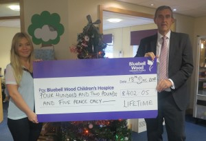 Bluebell Wood cheque presentation with Col