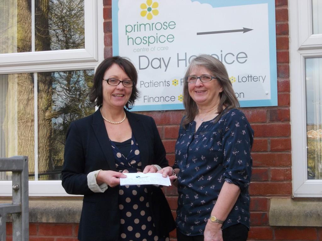 Primrose Hospice cheque presentation with Margaret Brown