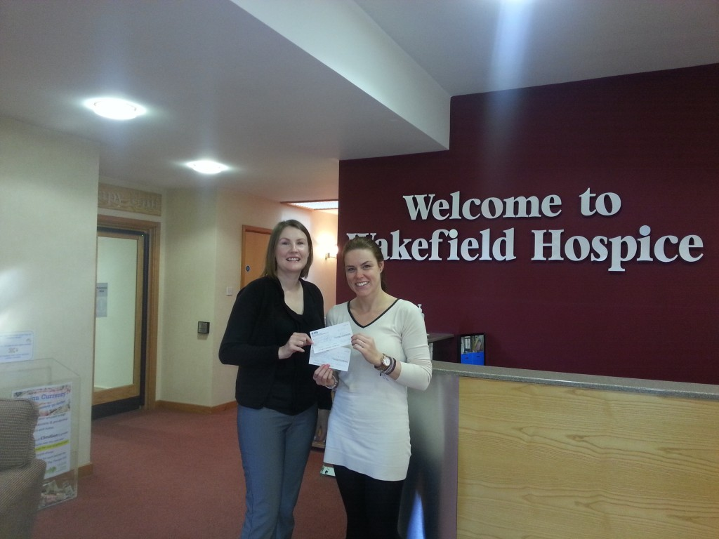 Helen cheque presentation to Wakefield