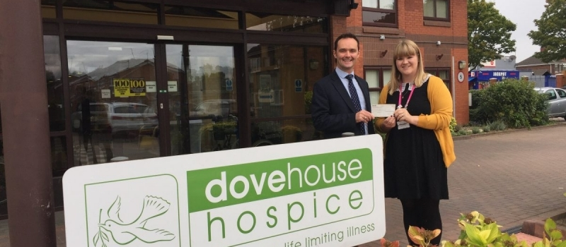 Lifetime financial planner Robert presents referral scheme cheque to Dove House Hospice