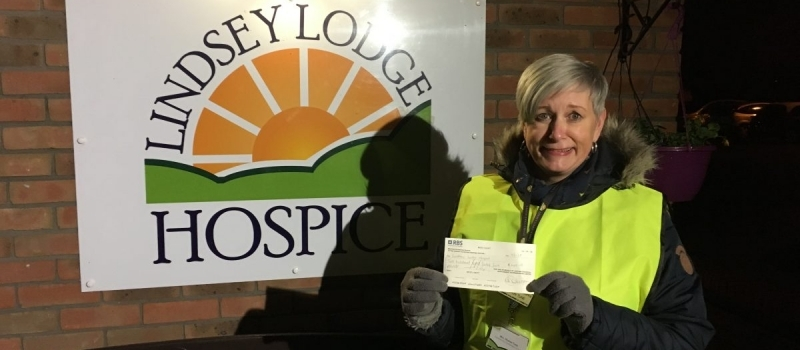 Lifetimer Tracey takes along client to present latest hospice cheque
